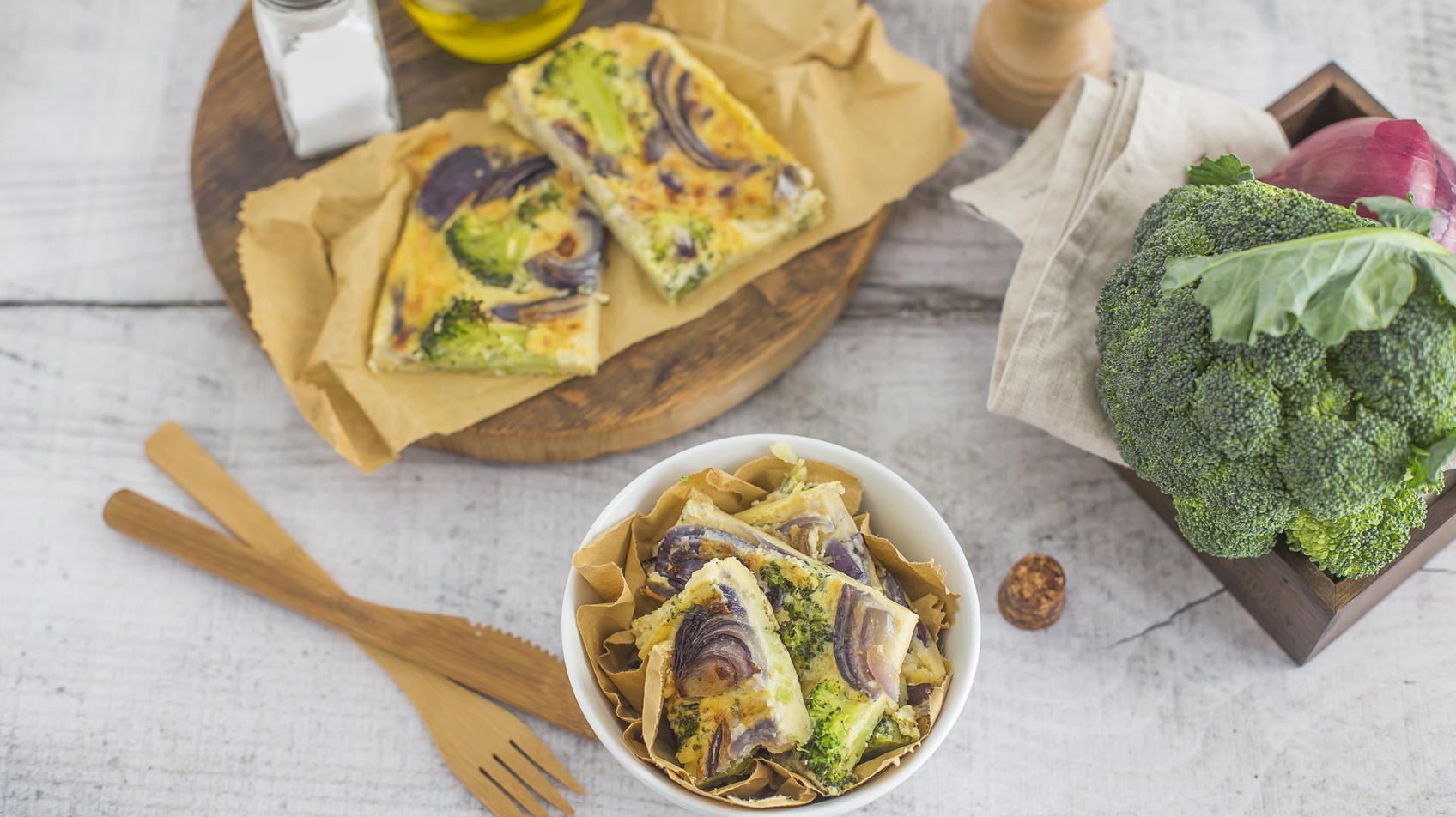 Farinata di ceci con cipolla e broccoli
