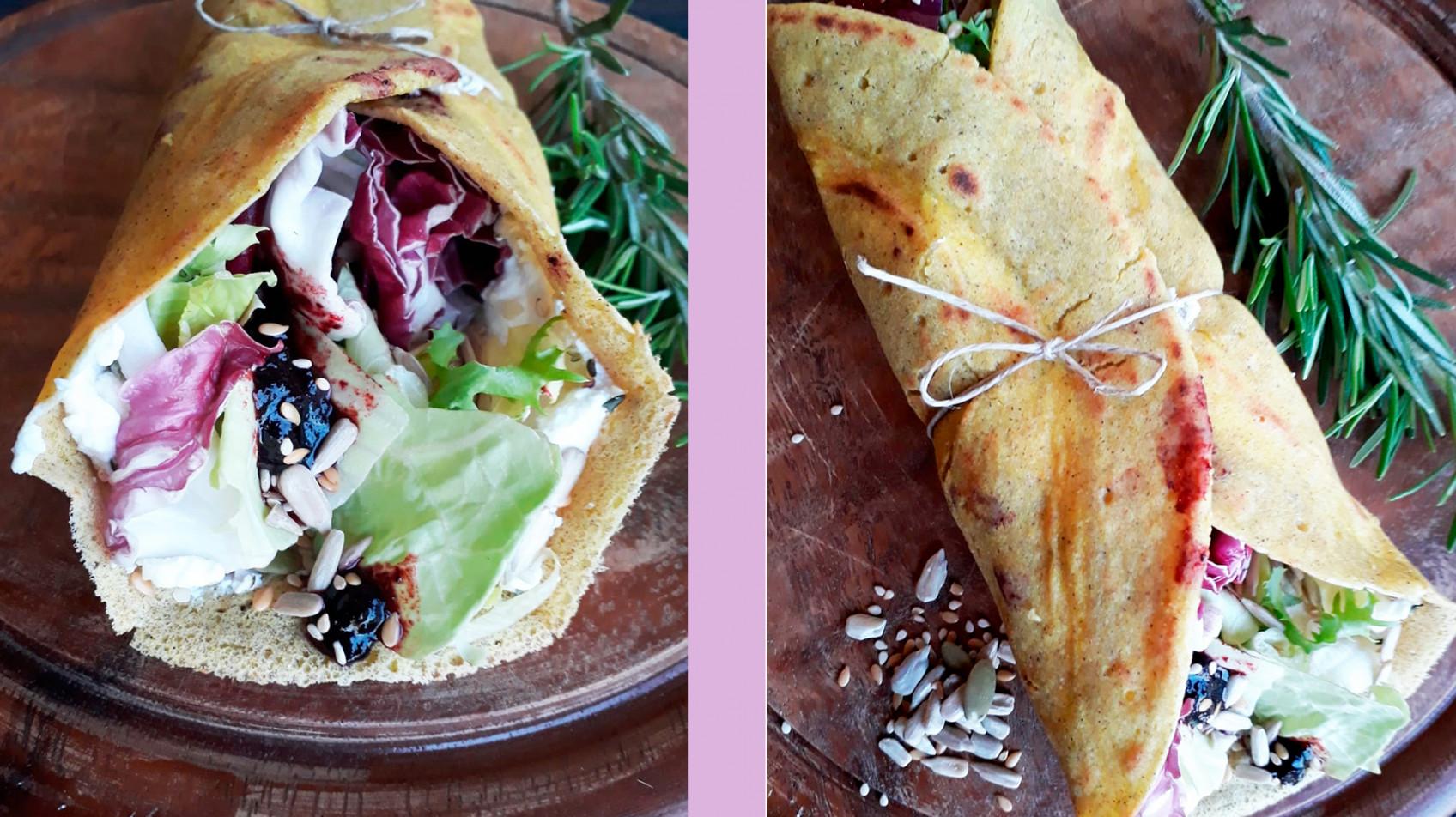Roll al saraceno e teff con hummus e verdure