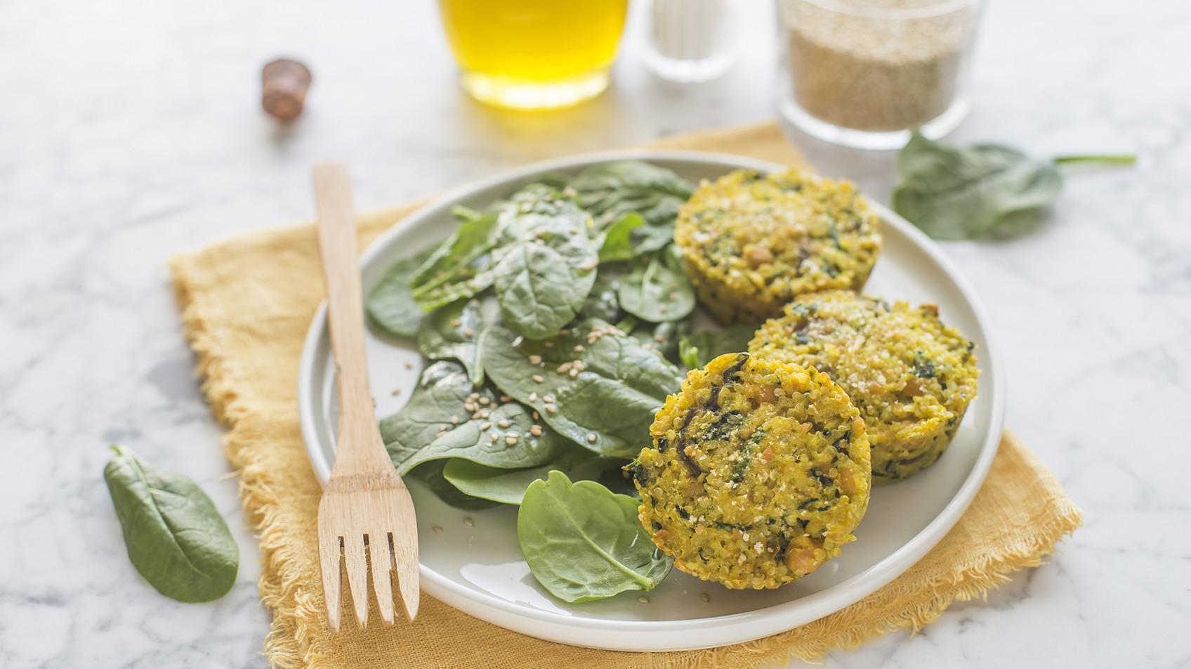 Tortini di quinoa, ceci e spinaci