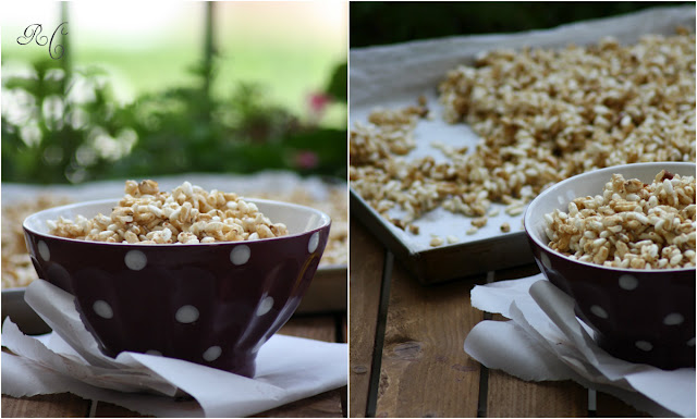 Honey puffed cereals with hazelnuts and cinnamon